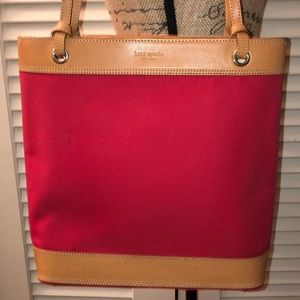 kate spade red canvas/tan leather tote